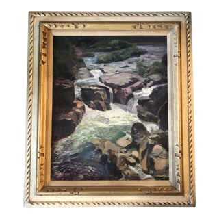 """Original Vintage Impressionist """"Rocks in Stream/River """" Painting Vintage Frame Signed For Sale"""