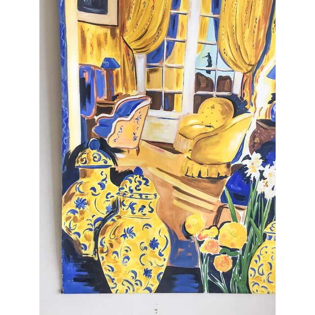Cheerful French Salon Scene in Blue & Yellow - Image 3 of 10