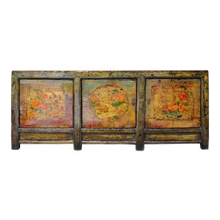 Chinese Distressed Olive Lime Green Flower Birds Sideboard Cabinet For Sale