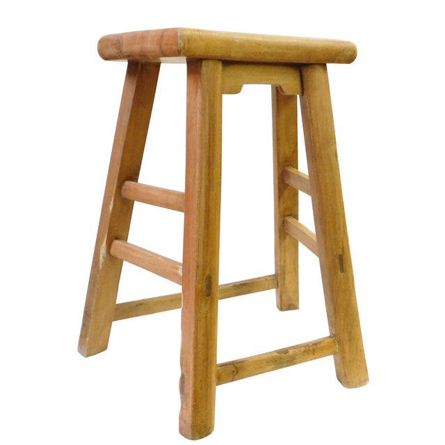 Asian Chinese Rustic Raw Wood Accent Sitting Stool For Sale - Image 3 of 8