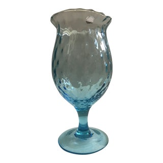 Empoli Italian Mid-Century Blue Glass Vase For Sale