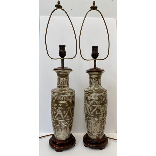 Brown Vintage Ceramic Table Lamps - a Pair For Sale - Image 8 of 8