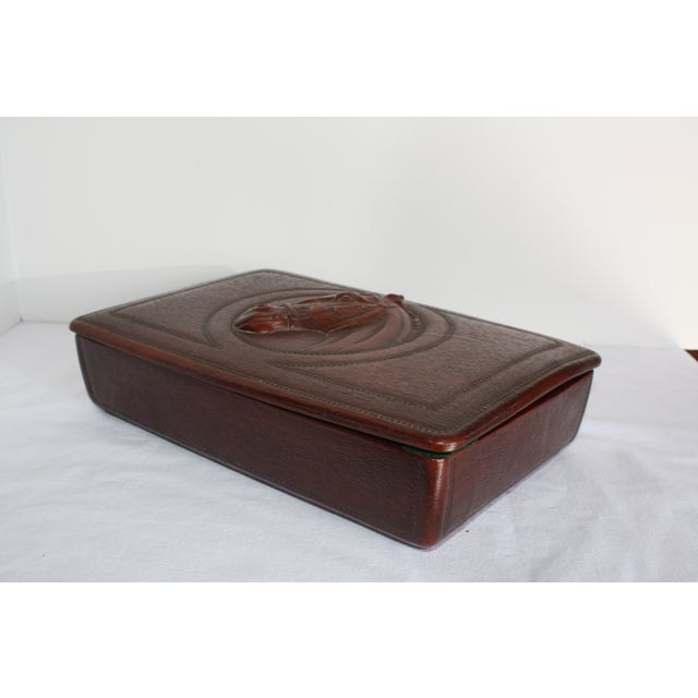 Syroco Midcentury Wood Box with Horse Head Detail - Image 7 of 7