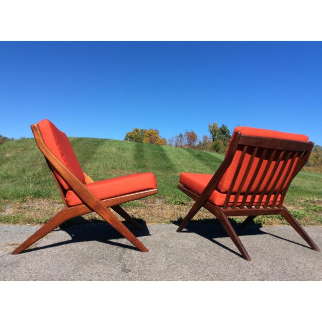 Folke Ohlsson for Dux Teak Scissor Chairs - A Pair For Sale - Image 5 of 9