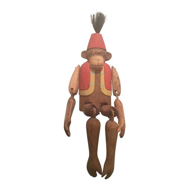 "1930s Folk Art Wooden Hand Carved Monkey ""Puppet"" For Sale"