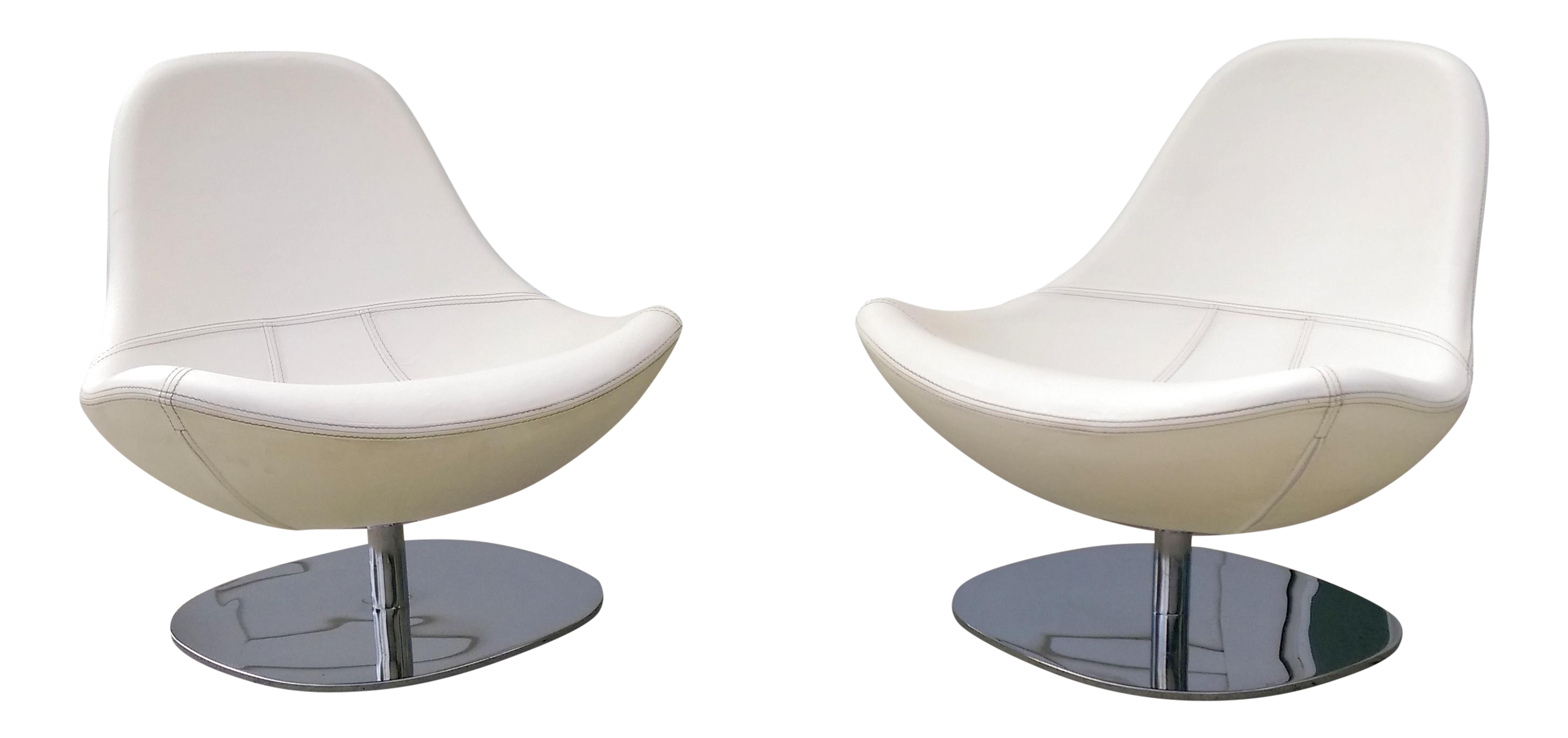 Modern Leather U0026 Chrome Swivel Egg Chairs  Pair