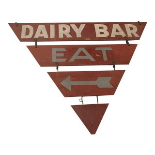 "Vintage Double-Sided ""Dairy Bar Eat"" Sign"