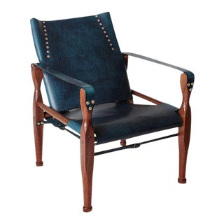 Contemporary Bespoke Safari Campaign Leather Lounge Chair by Third LIfe Designs For Sale