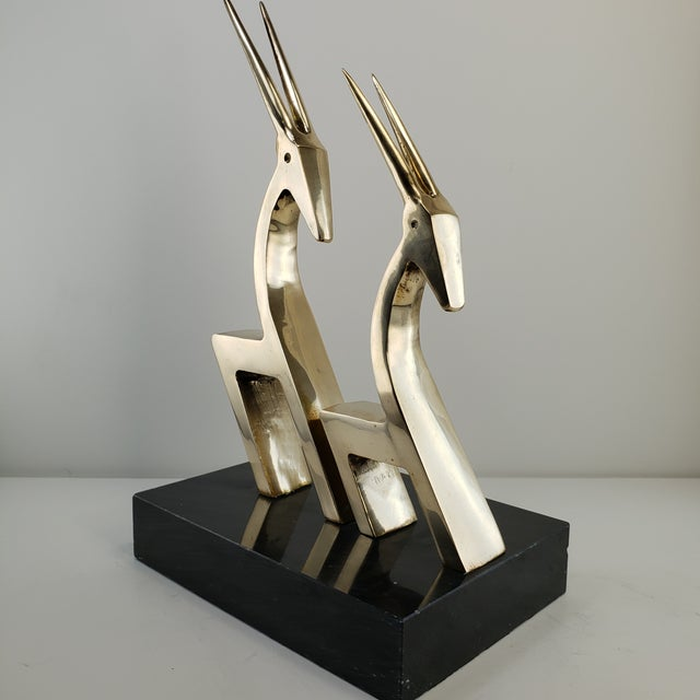 Vintage Brass 2 Gazelle Sculptures on 1 Marble Base Statue Mid Century Modern Art Rare or Hard to Find unique pair of...