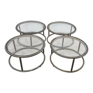 Bronzed Patina & Glass Side Tables by Brown Jordan - Set of 4 For Sale