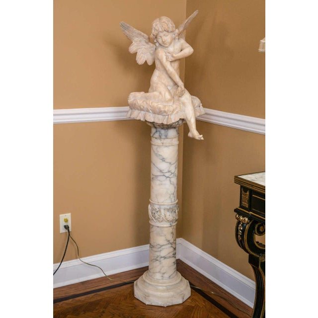 1900 - 1909 Alabaster Figure Winged Angel Sitting on a Pillow on an Alabaster Pedestal For Sale - Image 5 of 9