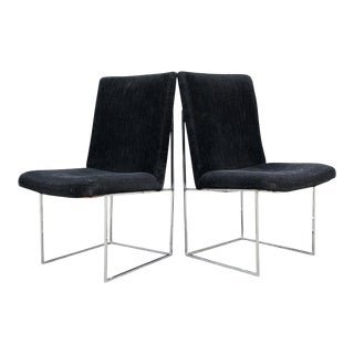 Milo Baughman for Thayer Coggin Thin Chrome Dining Chairs