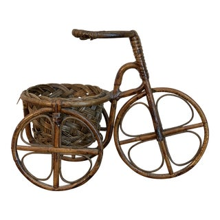 Late 20th Century Vintage Rattan Bicycle Basket Planter For Sale