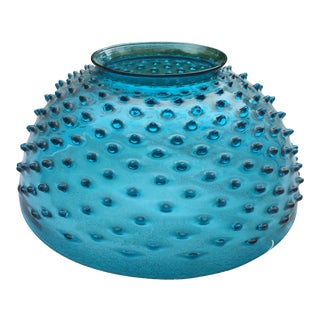 Vintage Turquoise Blue Glass Library Lamp Shade For Sale