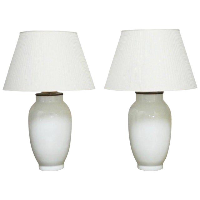 Blanc de Chine Baluster Form Table Lamps - A Pair For Sale