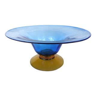 Footed Blown Murano Glass Bowl For Sale