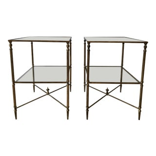Vintage Glass Gold Mirrored Side Tables - A Pair