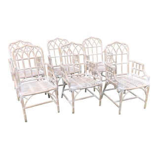 Vintage Chippendale Style Bamboo Dining Chairs - Set of 6 For Sale