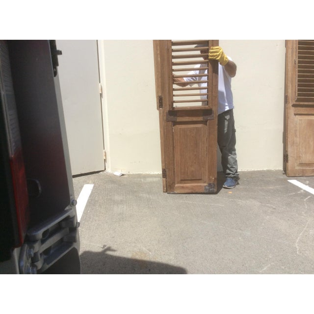 Metal Pair of Heavy Rustic Antique Wood Shutters For Sale - Image 7 of 9