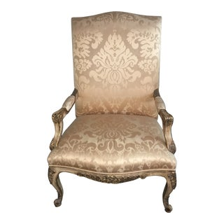 Modern Nancy Corzine Damask Champagne Fabric Chair For Sale