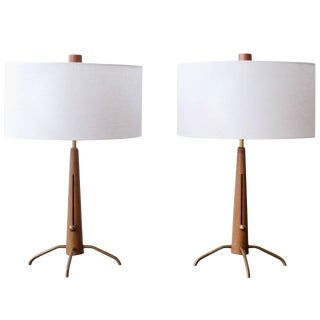 Walnut and Brass Gerald Thurston Adjustable Height Lamps For Sale