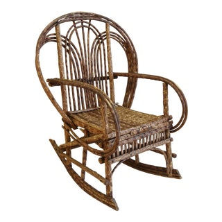 Vintage Hand-Crafted Bentwood Willow Wood Child's Rocker