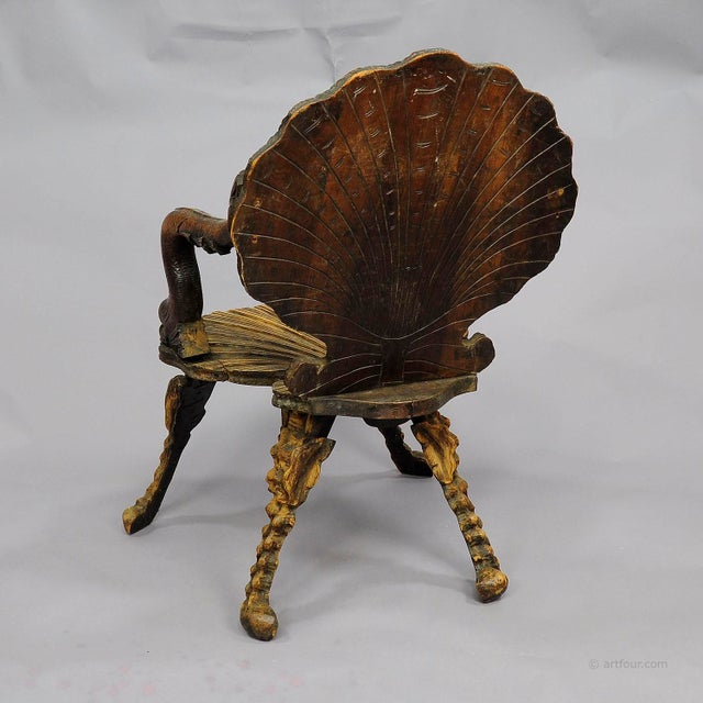 Cabin Antique Wooden Carved Grotto Armchair Ca. 1880 For Sale - Image 3 of 9