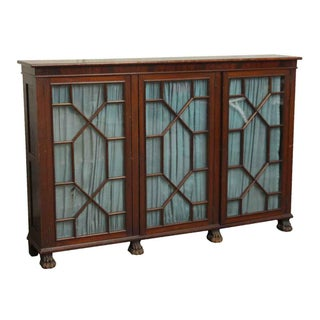 20th Century Traditional Mahogany Claw Foot Breakfront Bookcase With Glass Doors Preview