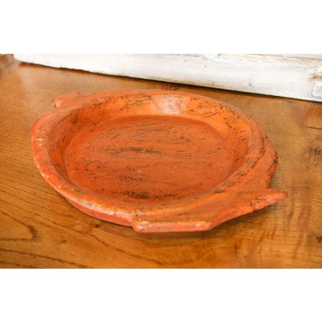 Folk Art Orange Antique Dough Platter For Sale - Image 3 of 4