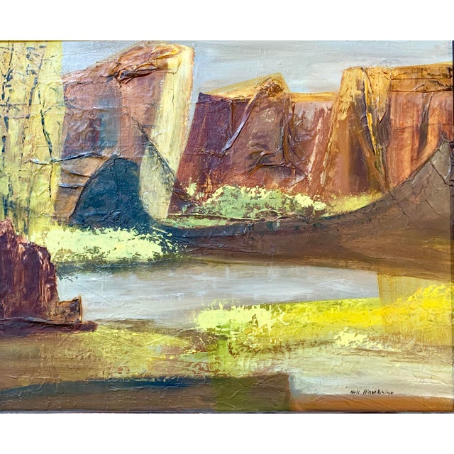 Abstract Vintage Mid-Century Nell Hirschkind Landscape Painting For Sale - Image 3 of 12
