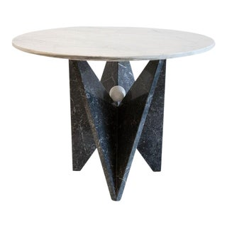 Sculptural Black Marble Table With White Marble Table Top, 1980s For Sale