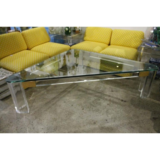 Amazing Vintage Hollywood Regency Monumental Size Lucite and Brass Triangle Charles Hollis Jones Coffee Table. Perfect for...