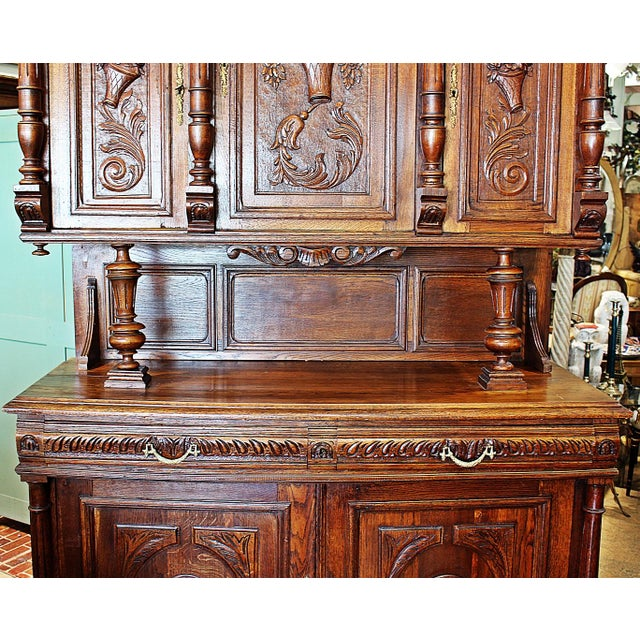 French Rococo Hand-Carved Hutch - Image 6 of 9