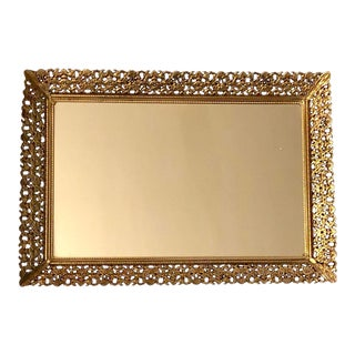 1970s Hollywood Regency Gold Mirrored Vanity Tray For Sale