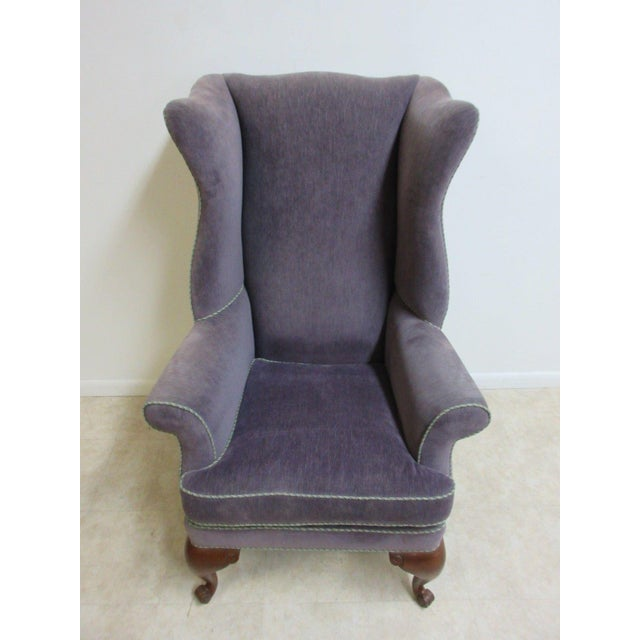 Vintage Purple Wingback Chair For Sale - Image 4 of 11