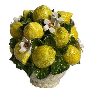 Italian Porcelain Lemon Basket For Sale