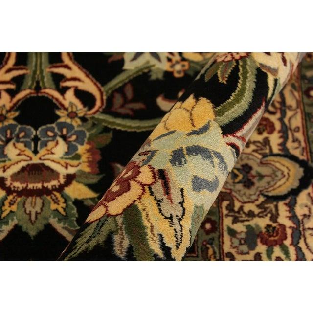 Asian Anarkali Pak-Persian Virgil Black/Ivory Wool Rug - 4'2 X 6'2 For Sale - Image 3 of 8