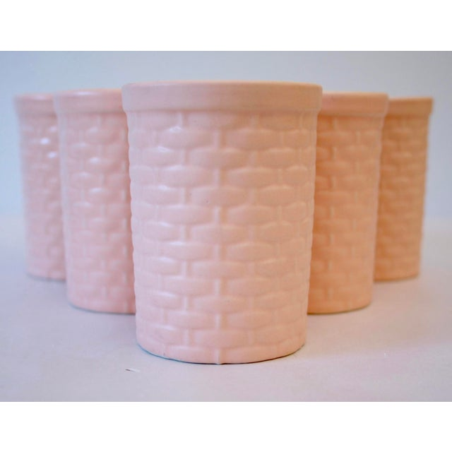 Hollywood Regency Peach Basketweave Pottery Tumblers - Set of 6 For Sale - Image 3 of 5