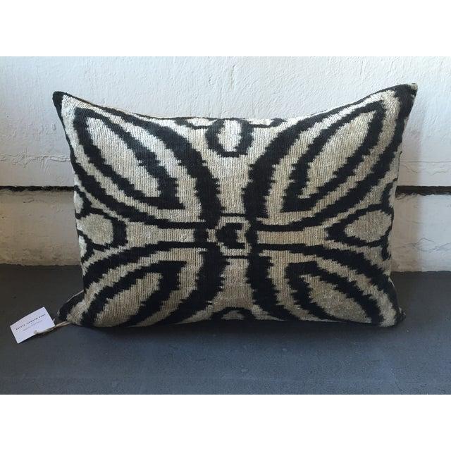 Vintage Silk Velvet Ikat Pillow - Image 2 of 3