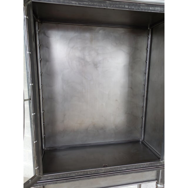 Contemporary Modern Welded Steel Designer 2 Door Display Cabinet For Sale - Image 3 of 13