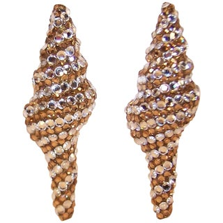 Glamorous 1980's Pave Crystal Nautilus Clip on Earrings For Sale