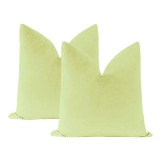 "22"" Celadon Velvet Pillows - a Pair For Sale"