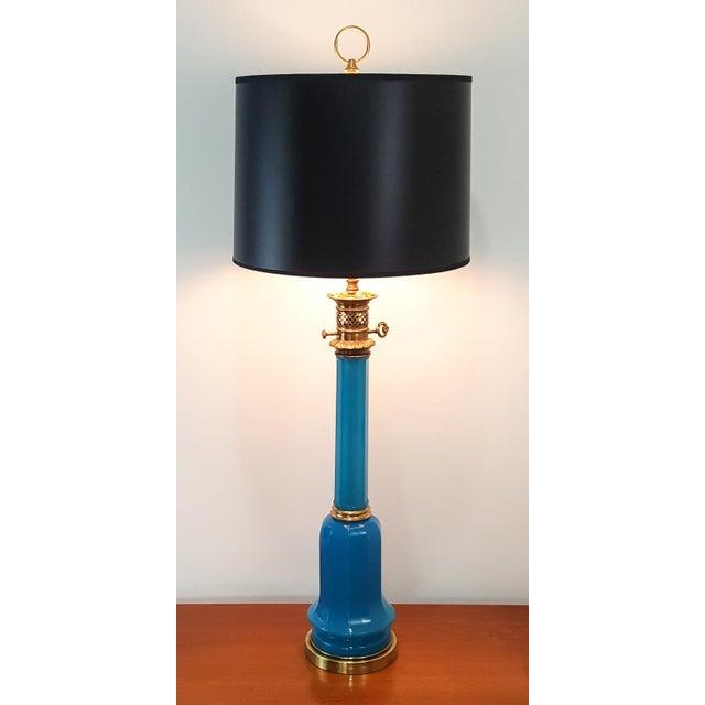 Warren Kessler NY Mid-Century Blue Opaline Murano Glass Lamp - Image 6 of 6