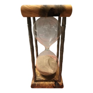 Vintage Hour Glass Sand Timer With Live-Edge Burlwood Top & Base For Sale