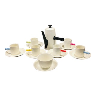 1930s Vintage Porcelain Demitasse Coffee Set-15 Pieces For Sale