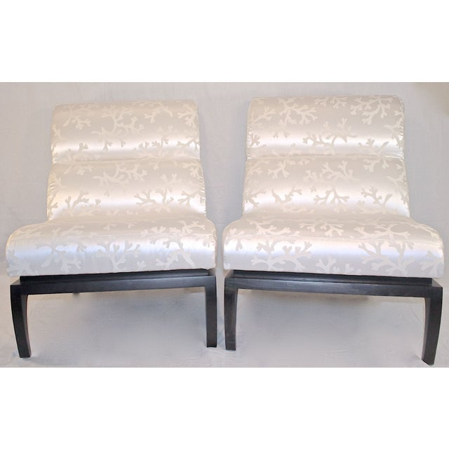 White Silk Shantung Slipper Chairs - A Pair For Sale - Image 4 of 7