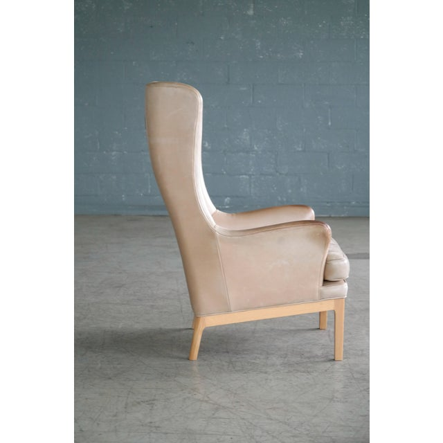 Midcentury Scandinavian Arne Norell High Back Lounge Chair in Worn Tan Leather For Sale In New York - Image 6 of 10