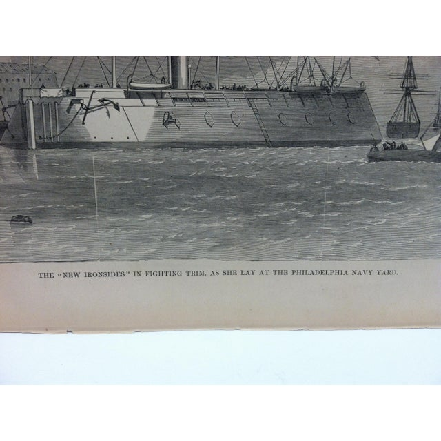 """American Late 19th Century Antique """"The New Ironsides in Fighting Trim - as She Lay at the Philadelphia Navy Yard"""" Pictorial Battles of the Civil War Print For Sale - Image 3 of 4"""
