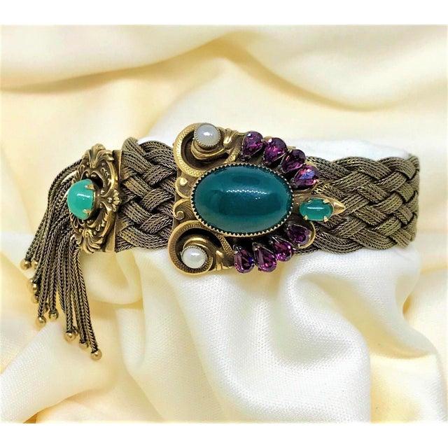1940s Victorian Revival Goldtone Jeweled Tassel Bracelet For Sale - Image 4 of 9