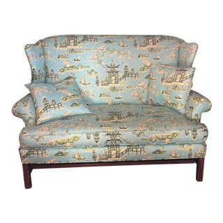 Schumacher Inspired Nanjing Loveseat & Matching Pillows For Sale